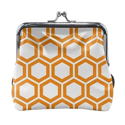 Monedero de Piel con diseño de Panal de Abeja, Color Naranja ...