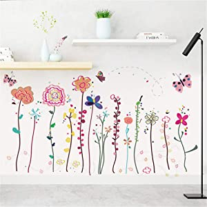 Girls Bedroom Decor-Romantic Cartoon Colorful Vines Flowers Butterfly Kid's Room Wall Sticker Art Home Decor Mural Decal for Classroom Bedroom Living Room Wall Home Decoration