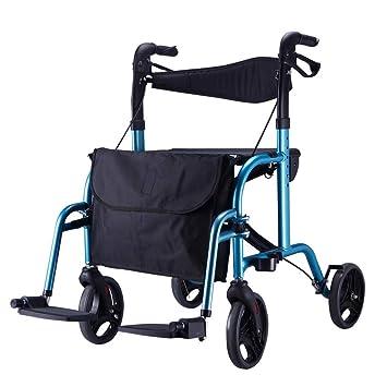 LWUDI Silla De Ruedas Plegable, Silla para discapacitados de aleación de Aluminio/Carrito de Compras con Ruedas de Cuatro Ruedas para Sentarse Sentado,Blue: ...