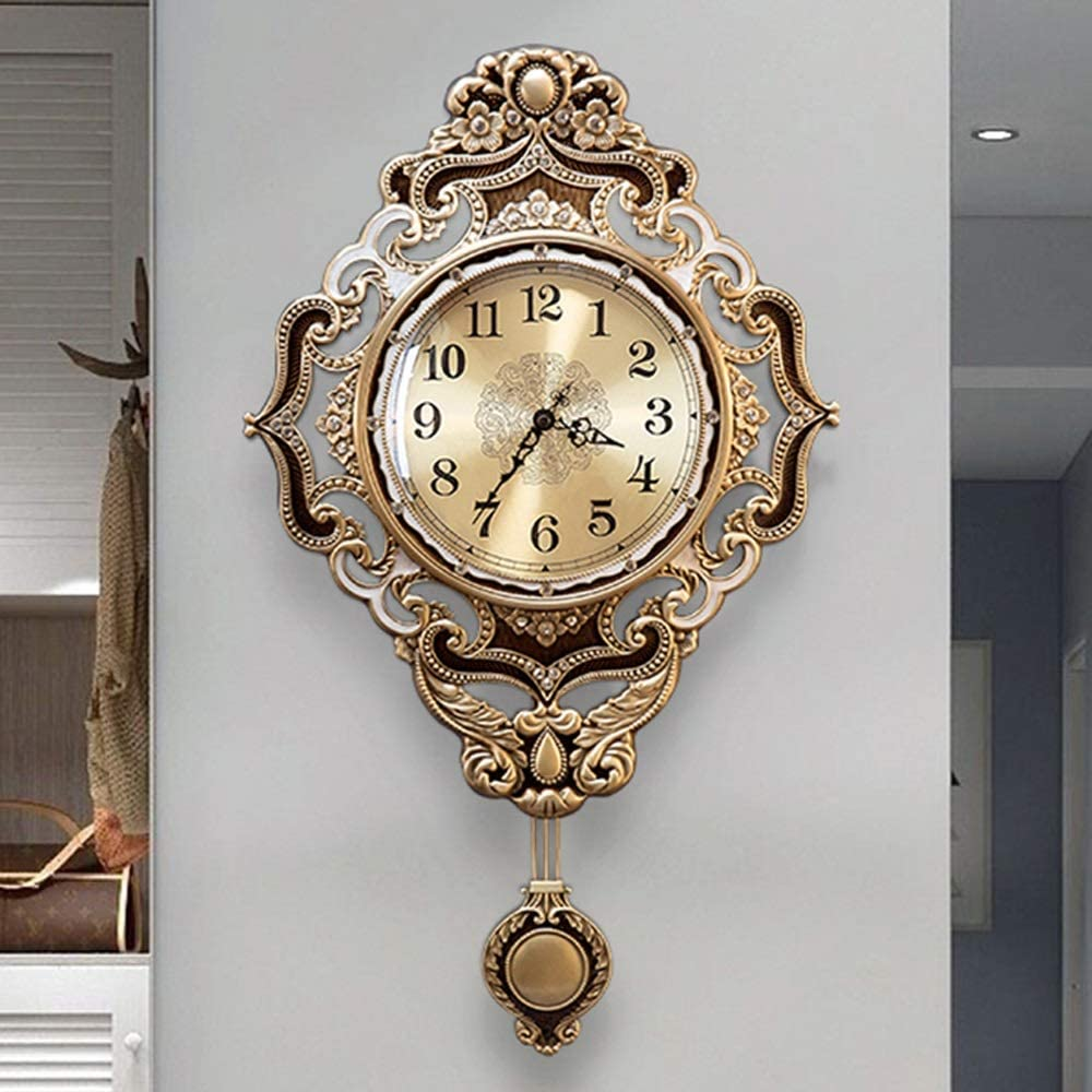 JIAJIA アメリカのレトロなダイヤモンドアンティークウォールクロックリビングルームのベッドルームのレストラン際に金属壁時計ミュートヨーロッパスタイルの高級ヴィラのホーム38x63cm クリエイティブ