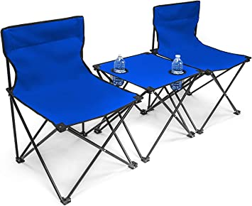 2 x Blue Folding Portable Garden Camping Fishing Festival Chair W// Cup Holder