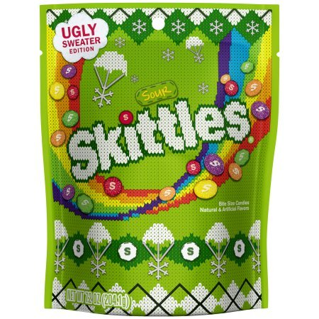 Skittles Sour Ugly Sweater Holiday Christmas Candy Bag, 7.2 ounce