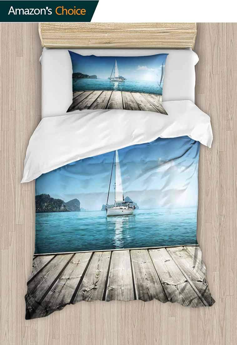 Sailboat Nautical Decor Diy Quilt Cover and Pillowcase Set, Yacht from Wooden Deck Horizon Serene Seascape Lei, Print, Decorative Quilted 2 Piece Coverlet Set with 1 Pillow Shams, 63 W x 82 L Inches