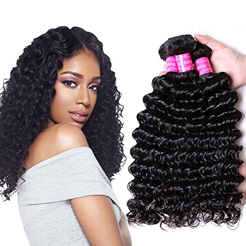 Ali Bling 8A Grade Brazilian Virgin Hair Deep Curly Wave 3 Bundles 100% Unprocessed Human Hair Natural Black Color Hair Extensions Can Be Dyed and Bleached (10 12 14) Deep Wave