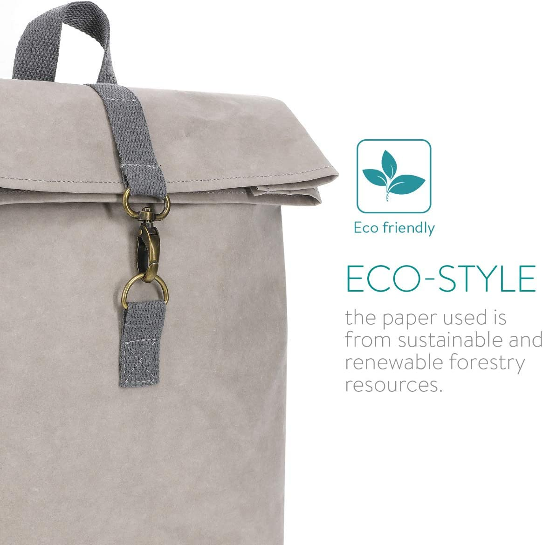 10l Papierrucksack f/ür Herren und Damen Papier Backpack Navaris Rucksack Tasche aus waschbarem Kraftpapier FSC Zertifiziert umweltfreundlich
