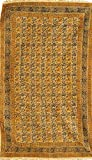 Antique-White Kalamkari Dhurrie from Telangana with Printed Flowers - Pure Cotton