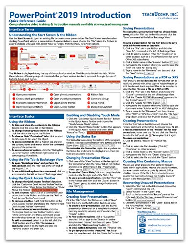 Powerpoint Quick Reference Card - Microsoft PowerPoint 2019 Introduction Quick Reference Training Tutorial Guide (Cheat Sheet of Instructions, Tips & Shortcuts - Laminated Card)