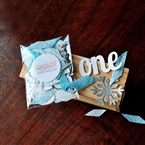 Winter Onederland Party Decorations. 2 Packs (40ct each) Baby Blue and Silver Party Decorations.One and Snowflake Confetti Mix.]()
