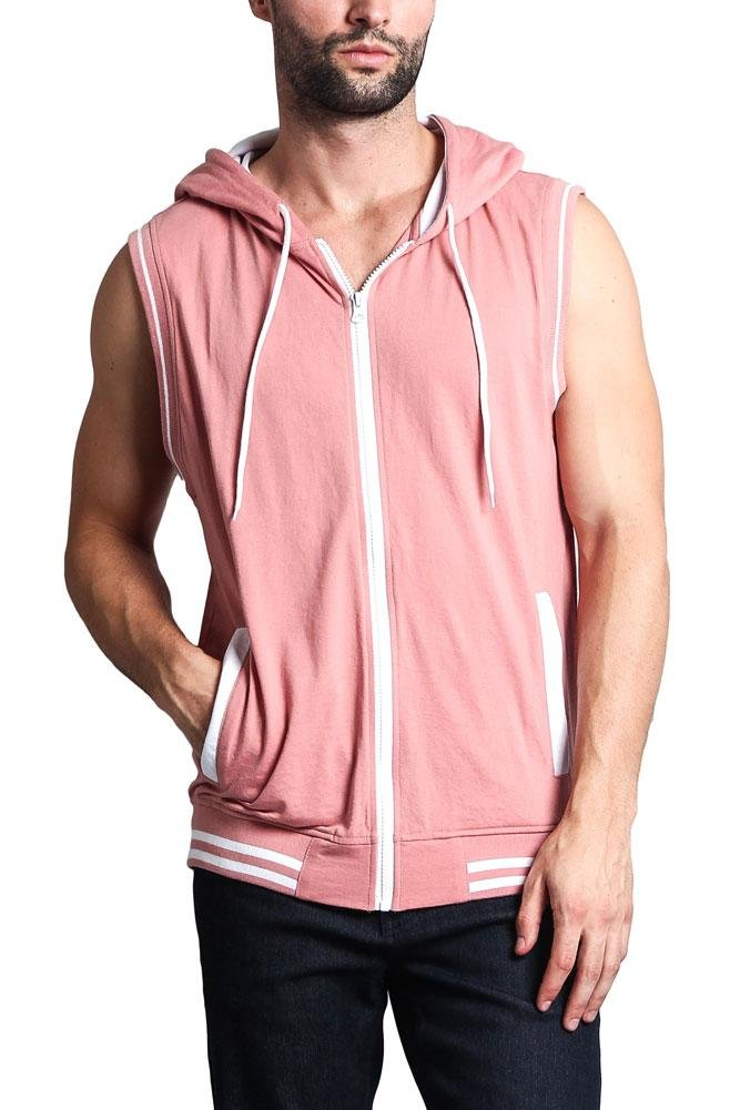 Victorious G-Style USA Lightweight Athletic Casual Sleeveless Contrast Hoodie TH890 - Dirty Pink/White - 3X-Large - HH1B