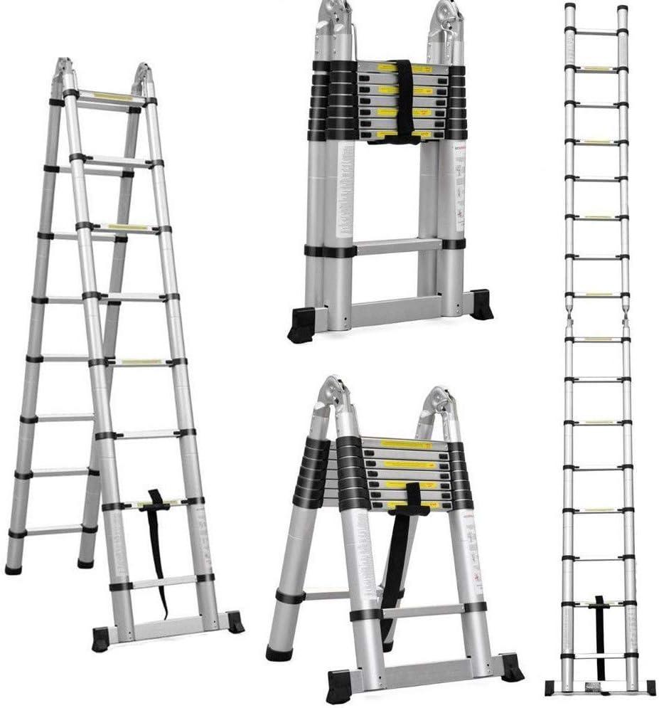 Escalera telescópica plegable de aluminio de 5 m (2,5 m + 2,5 m) – un marco extensible 16 pasos: Amazon.es: Bricolaje y herramientas