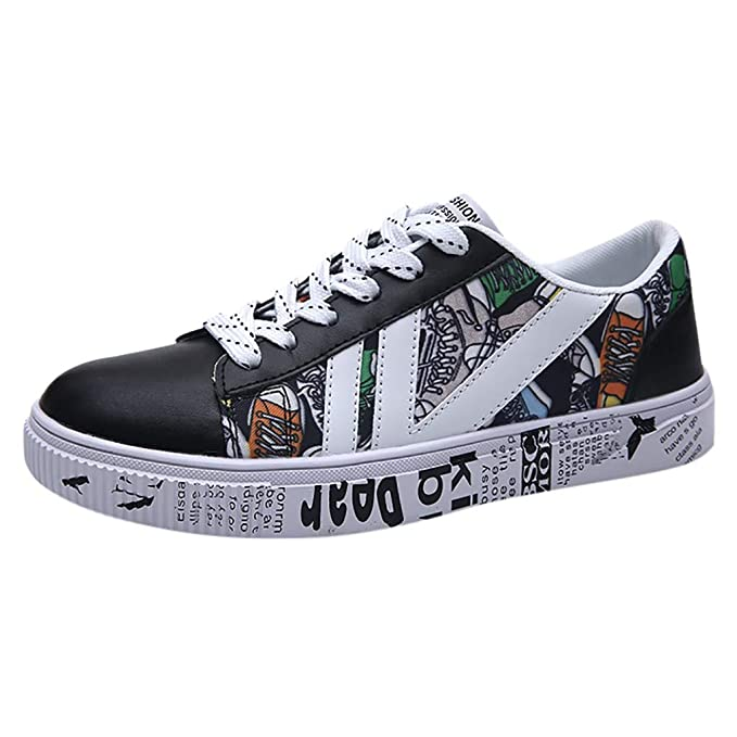 f55654bf5d TIFENNY Sneakers for Men Fashion Flat Shoe Running Hiking Shoes Casual  Vintage Print Breathable Shoes Black