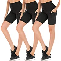 FULLSOFT Yoga Shorts for Women Workout Running Athletic High Waist Tummy Control Non See-Through Leggings with Side Pockets