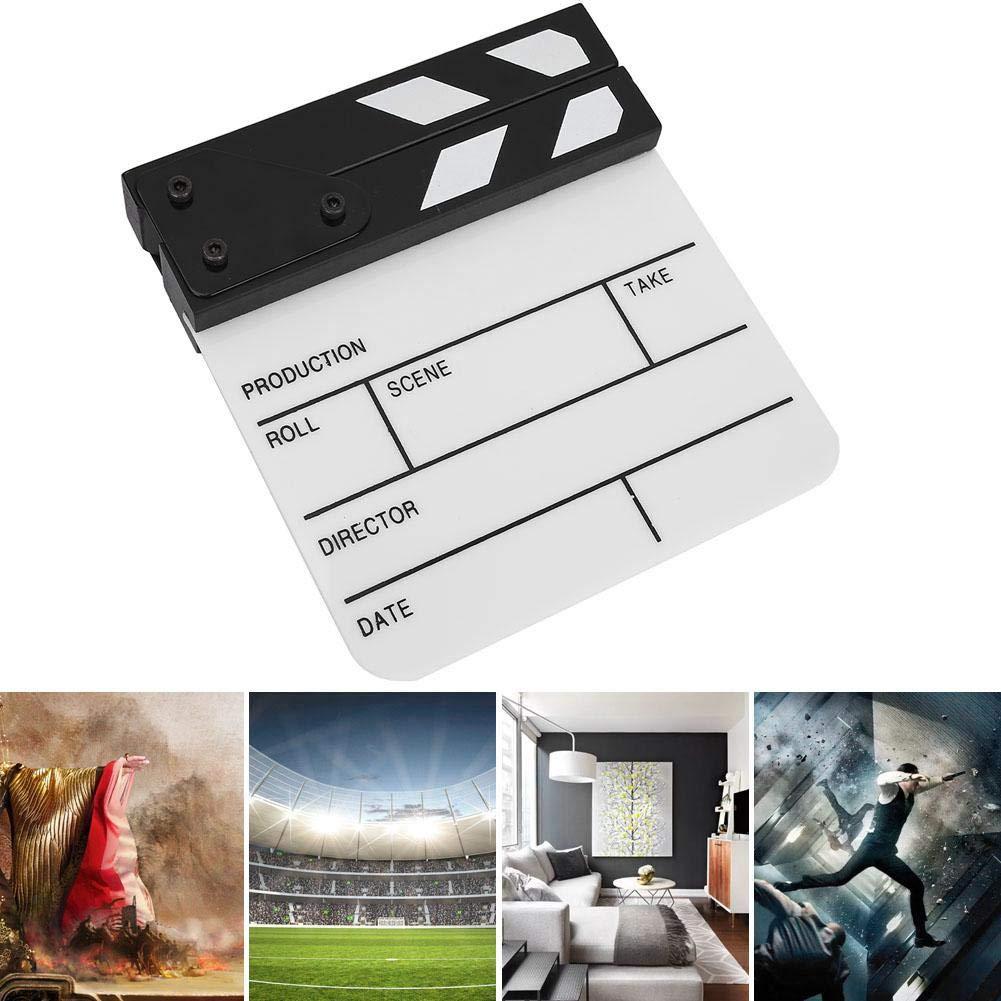 TV-Shows Heimtextilien Tosuny Mini-Acryl-Filmklappe Directors Film Clapboard Easy Wipe Cut Action-Szene Clapper Board Schiefer mit Stift f/ür Filme Schwarz-Weiss