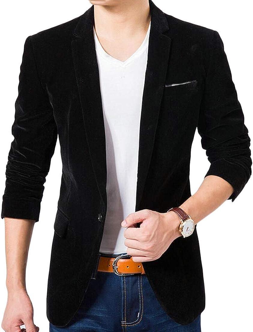 GAGA Men Slim Fit Single Breasted Lapel 1 Button Velvet Blazer