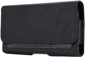 Horizontal Canvas Belt Clip Holster Cell Phone Pouch w Belt Loop Card Holder Case for iPhone XR 8+ 7+ 6 Plus Galaxy S10+ S8+ S9 Plus J7 /BLU Vivo XL4/Dash XL/Studio Mega/LG V50 V40 G7 ThinQ/OnePlus 6