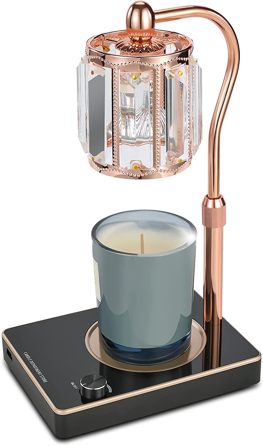 Candle Wax Lamp,Crystal Lampshade Fragrance Candle Warmer Lamp,Top-Down Wax Melting Lamp with USB Port,Adjustable Height and Brightness Electric Candle Wax Warmer for Home Bedroom Decor. (Black)