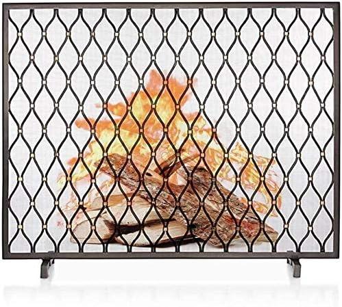 アンティークヴィンテージ暖炉スクリーンフラットガード、シングルパネル赤ちゃんの安全Fireguard画面、スパークメッシュカバーオープン火災/ウッドバーナー/ガス火災のために、ブラック