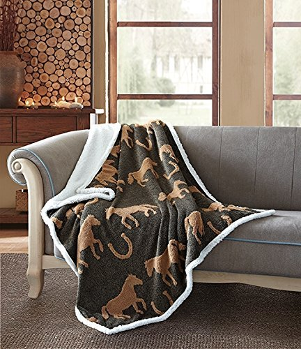 Virah Bella Tan Black Horses by Phyllis Dobbs Jacquard Fleece Sherpa Back Throw Blanket