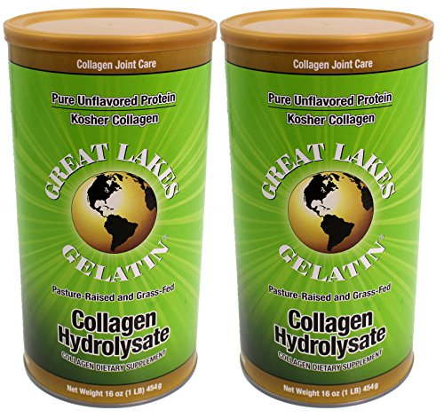 Great Lakes Gelatin, Collagen Hydrolysate, Beef, Kosher, 16 oz. 2 Pack
