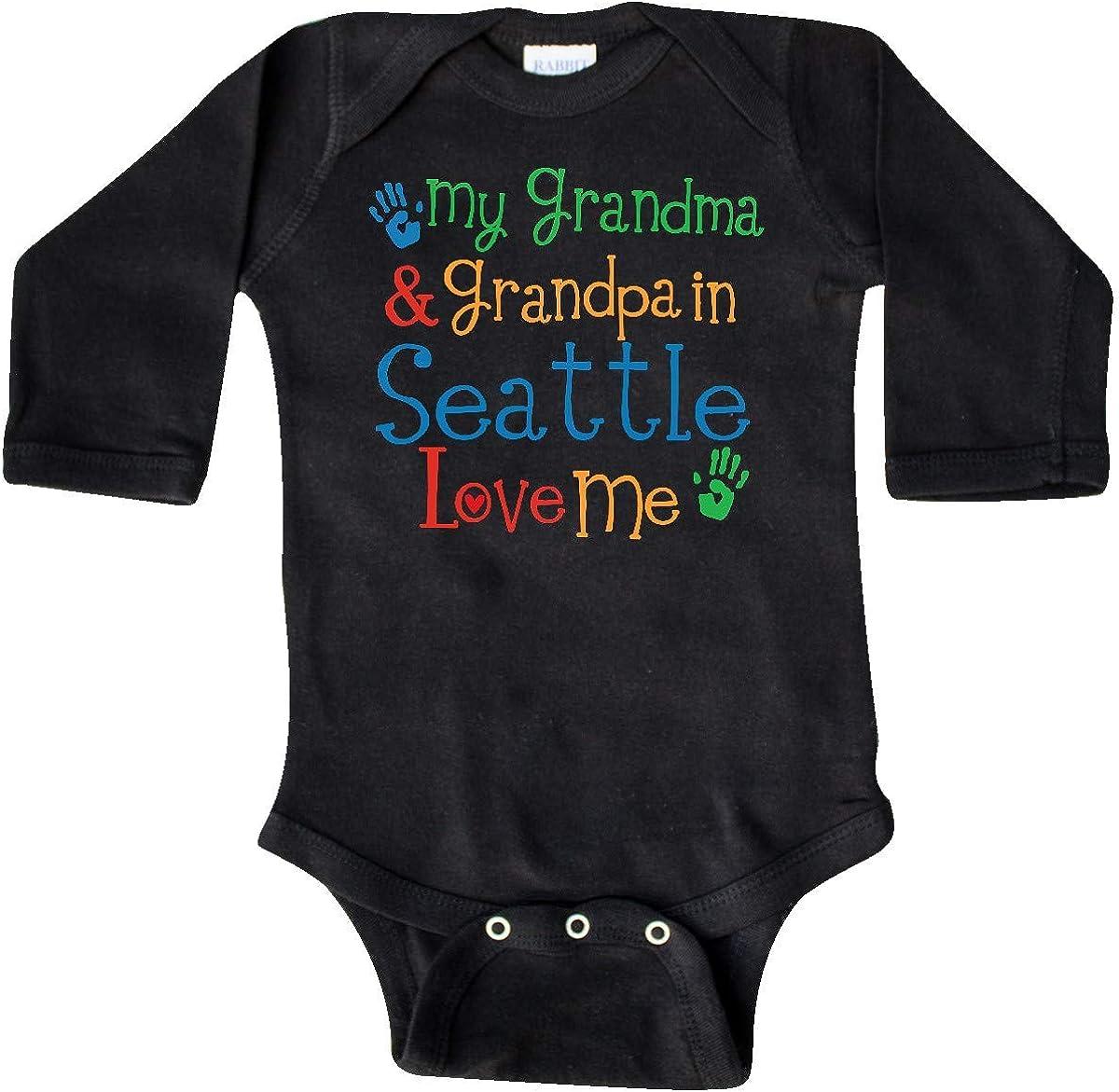 inktastic Seattle Grandma Grandpa Love Me Long Sleeve Creeper