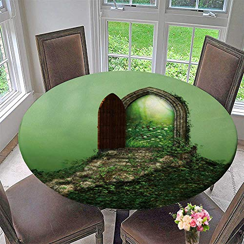Chateau Easy-Care Cloth Tablecloth Fantasy Doorway Portal Framed by Green Vines Lead into a Idyllic Garden for Home, Party, Wedding 31.5