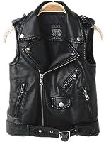 2016 Faux leather Motorcycle Dress Casual Boys Joker Vest (Black)