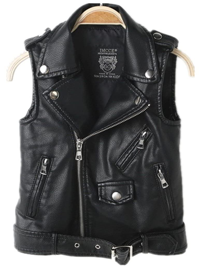 2016 Faux leather Motorcycle Dress Casual Boys Joker Vest (Black) AAG0157