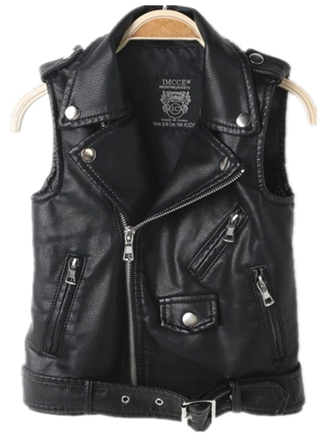 Faux leather Motorcycle Dress Casual Boys Joker Vest