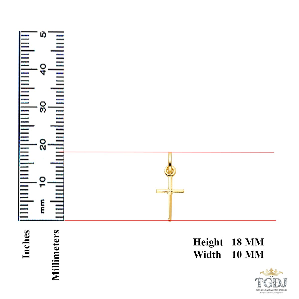 Fine Jewelry for Men /& Women Religious Charm Pendant 18 x 10 mm 0.6 Grams Ideal Gift for Birthday Christmas /& All Occasions Easter 14K Yellow Gold Tiny Cross Pendant High Polished Finish