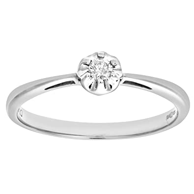 Naava Women's 9 ct White Gold 0.15 ct Pear Cut Diamond Solitaire Engagement Ring htE4xKIcaD