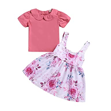 c0d7ef233c Children's Short-Sleeved Doll Collar Solid Color T Shirt top Flower ...