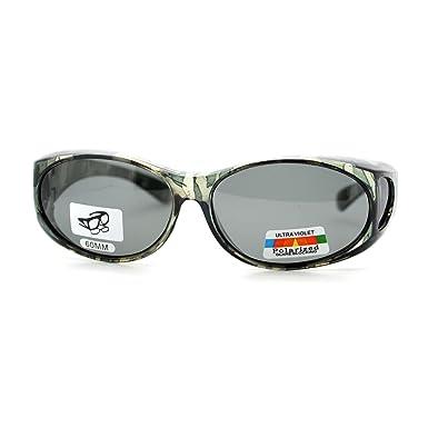 polarized lens fit over glasses sunglasses oval frame green camo print