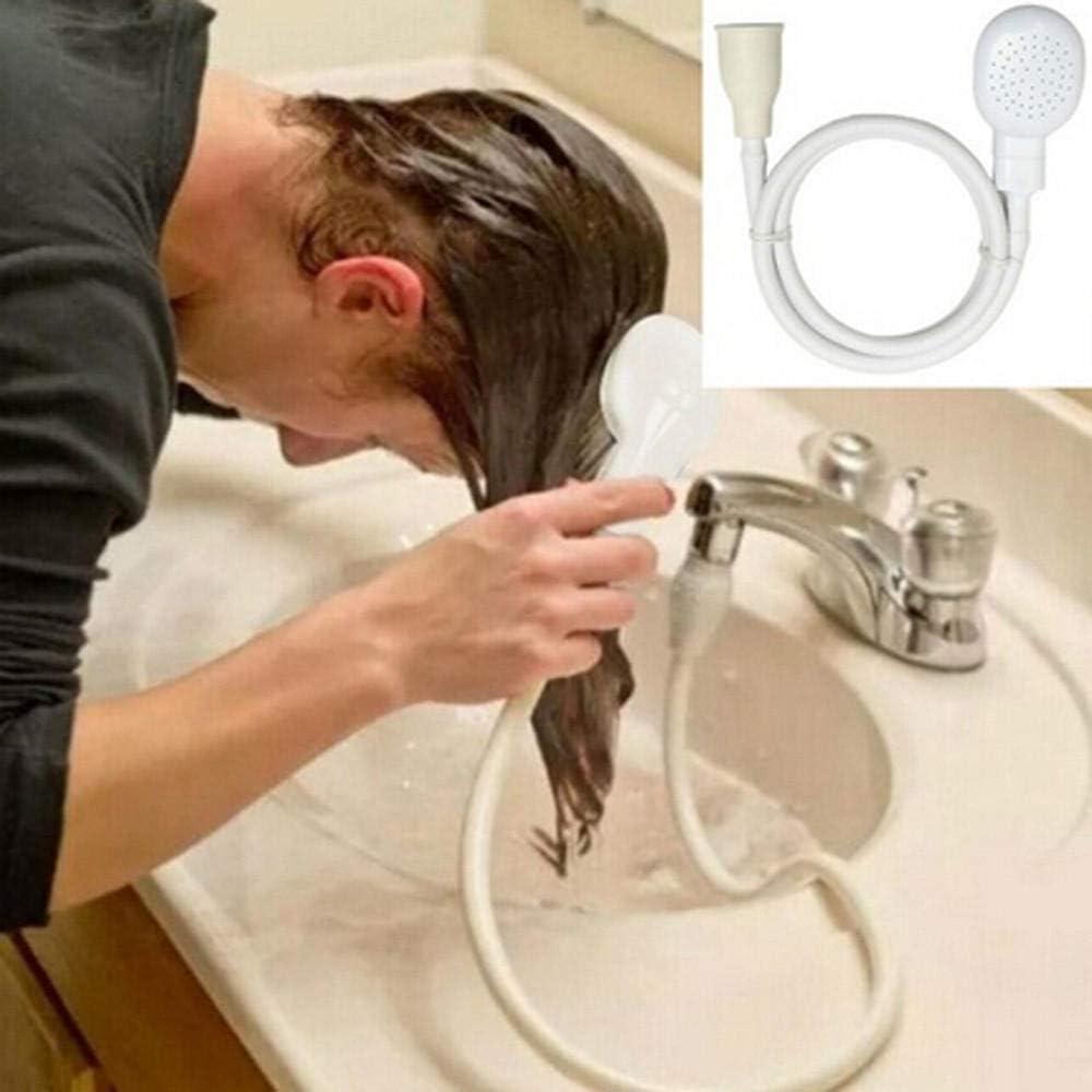 Ducha Grifo multifuncional Cabezal de ducha Drenajes en spray Colador Manguera Fregadero Lavado Lavado de cabello Ducha para personas Mascotas Baño Cabeza de grifo-Blanco_Estados Unidos