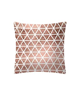 QingJiu Rose Gold Pink Cushion Cover Square Pillowcase Home Decoratio (E, 45X45cn)