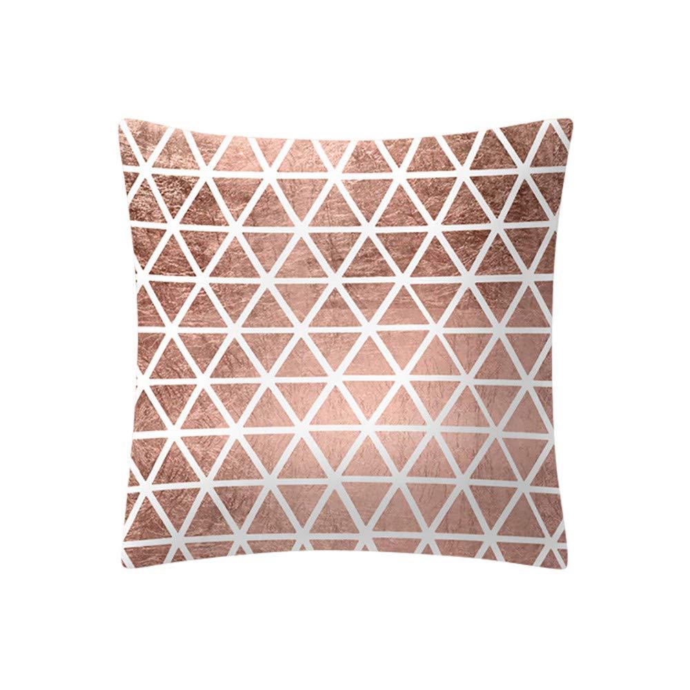 Mome ʕ •ᴥ•ʔ Beautiful Square Pillowcas ʕ •ᴥ•ʔ 1 PC Rose Gold Pink Cushion Cover Square Pillowcase-Home Decoratio-Car Ornament -Bedroom Decoration (E)