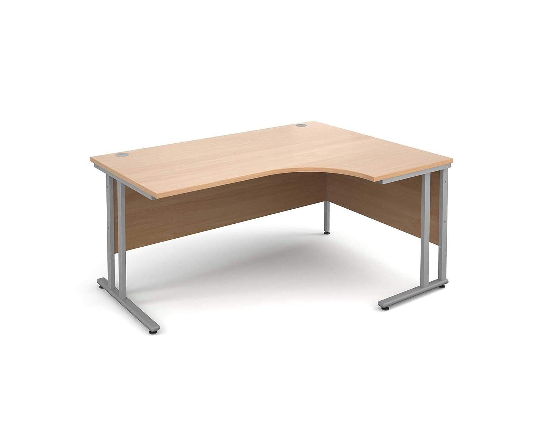 Beech Color Maestro 25 Right Hand Ergonomic 1600 Desk with Silver Legs