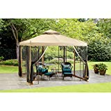 10' x 10' Steel Gazebo with Durable Polyester Canopy, No Tools Required for Easy Assembly