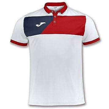 Joma Polo Crew II Blanco-Rojo M/C - Polo Deportivo, Unisex, Blanco ...
