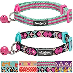 "Blueberry Pet Pack of 2 Cat Collars, Geometric Design Adjustable Breakaway Cat Collar in Warm and Low-bright Colors with Bell, Neck 9""-13"""