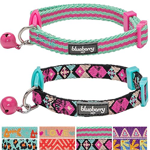 Blueberry Pet Pack of 2 Cat Collars, Geometric Design Adjustable Breakaway Cat Collar in Warm and Low-bright Colors with Bell, Neck - Geometrical Cat