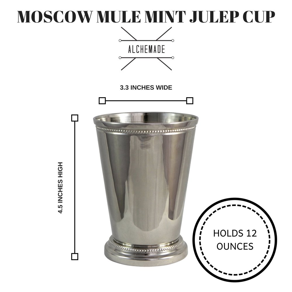 Moscow Mule Mint Julep Cup Nickel Plate Beautifully Beaded Trim Edging Mint Julep Cups Capacity 12 Ounce by Alchemade 12 Oz