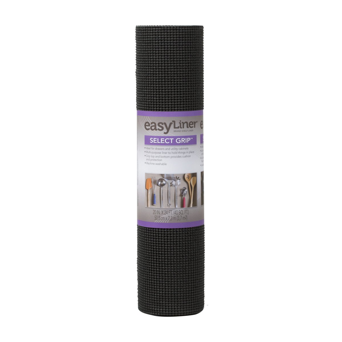 Duck Brand Select Grip Easy Liner Non-Adhesive Shelf Liner, 20 in. x 24 ft, Black (281876)