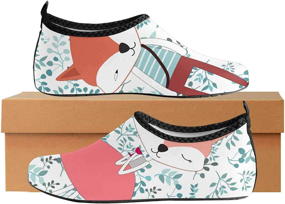 INTERESTPRINT Mens Water Sports Shoes Cute Dog Fox Aqua Shoes for Beach Swim Surf Yoga Exercise