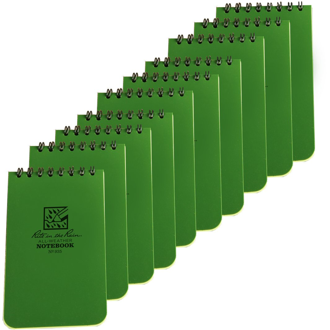 Rite in the Rain 935 Green Tactical Pocket Notebook 3-inch x 5-inch, 10-Pack