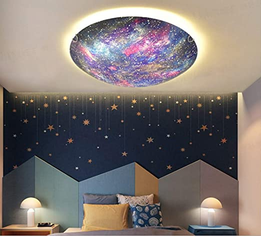 Amazon.com: LAKIQ Beautiful Space Planet Modern LED Flush Mount Ceiling Light Fixture Universe Metal Glass Close To Ceiling Lighting For Boys And Girls Room Children