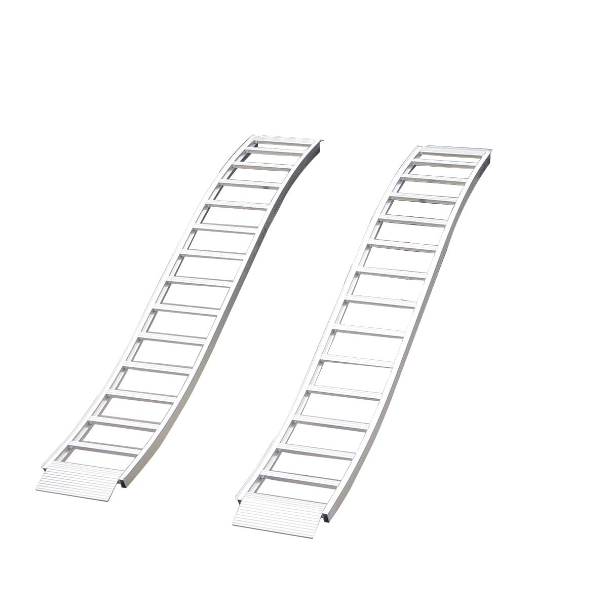 CargoSmart Aluminum Fixed S-Curve Ramp with Treads (2pk) - Easily and Safely Load and Unload Your Light Equipment, Lawn Tractors, ATVs and More, 1,500 lb. Capacity, 12'' W x 90'' L
