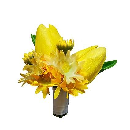 Amazon.com: weddingbobdiy Amarillo PU Artificial Tulip ...