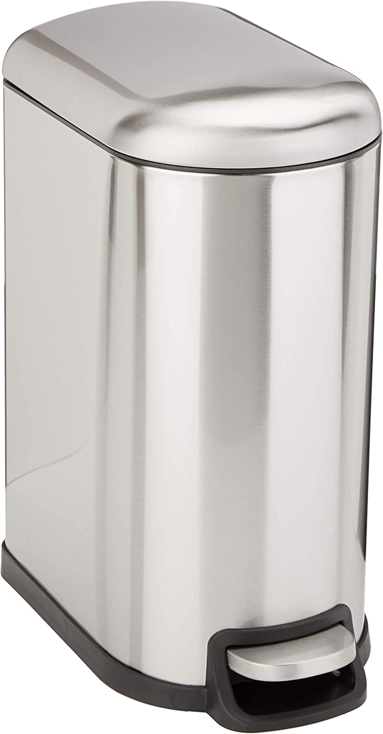 AmazonBasics Rectangle Soft-Close Trash Can for Narrow Spaces - 10L