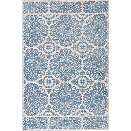 Decomall Modern Floral Textured Farmhouse Shabby Chic Moroccan Area Rug Runner for Hallway Living Room or Bedroom, 2.5x9 ft, Blue