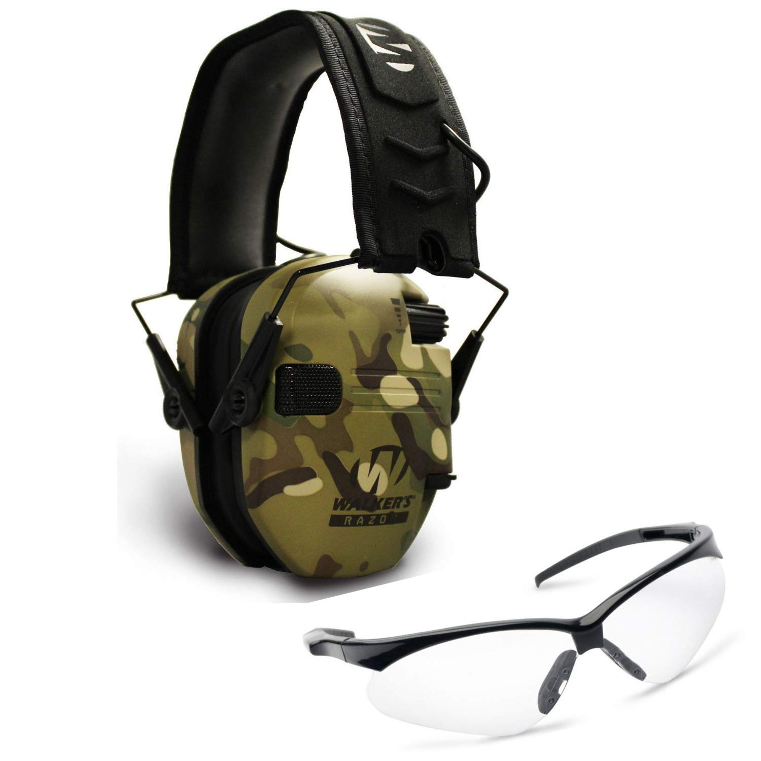 Walkers Razor Slim Electronic Shooting Hearing Protection Muff, Multicam, Tan (Sound Amplification and Suppression) with Shooting Glasses Kit by Walkers (Image #1)